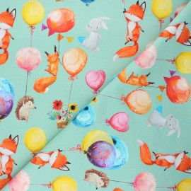 French terry fabric - sage green Balloon party x 10cm