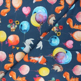 French terry fabric - night blue Balloon party x 10cm