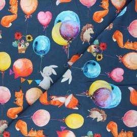 Tissu sweat léger Balloon party - bleu nuit x 10cm