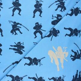 Printed jersey fabric - swell blue Ninja x 10cm