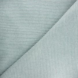Knitted jersey 3/3 tubular edging fabric - mottled sage green x 10 cm
