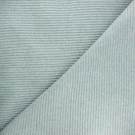 Tissu jersey tubulaire bord-côte 3/3 - vert sauge chiné x 10cm