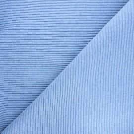 Knitted jersey 3/3 tubular edging fabric - mottled sky blue x 10 cm