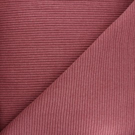 Knitted jersey 3/3 tubular edging fabric - mottled rosewood x 10 cm