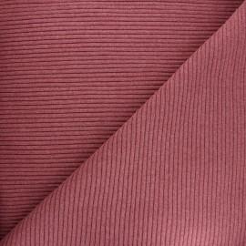 Tissu jersey tubulaire bord-côte 3/3 - bois de rose chiné x 10cm