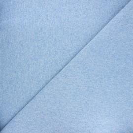 Jersey tubulaire bord-côte - bleu ciel chiné x 10cm