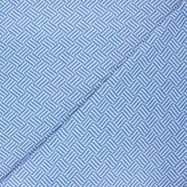 Tissu maille jacquard Basil - bleu x 10 cm