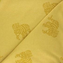 Tissu maille jacquard Minnie - jaune moutarde x 10 cm