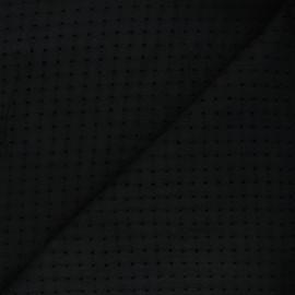 Openwork cotton voile fabric - black Marion x 10cm