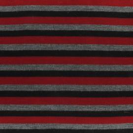 Tissu Jersey multi rayures gris/noir/rouge