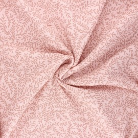 Poppy double gauze fabric - light pink Leaves  x 10cm