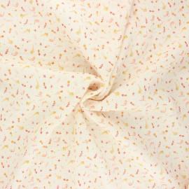 Tissu double gaze de coton Poppy Sweet flowers B - ivoire x 10cm