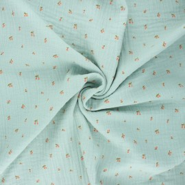 Poppy double gauze fabric - mint Cherry  x 10cm