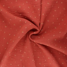 Tissu double gaze de coton Poppy Cherry - terracotta x 10cm