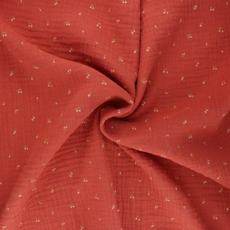 Poppy double gauze fabric - terracotta Cherry  x 10cm