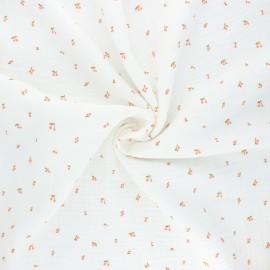 Tissu double gaze de coton Poppy Cherry - écru x 10cm