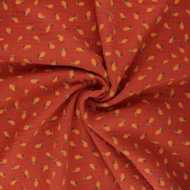 Tissu double gaze de coton Poppy Lemon - terracotta x 10cm