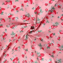 Tissu popeline de coton Vive les fraises - rose clair x 10cm