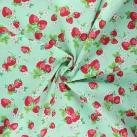 Tissu popeline de coton Vive les fraises - menthe x 10cm