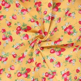 Tissu popeline de coton Vive les fraises - jaune moutarde x 10cm