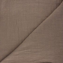 Flamed cotton voile fabric - taupe Victorine x 10cm