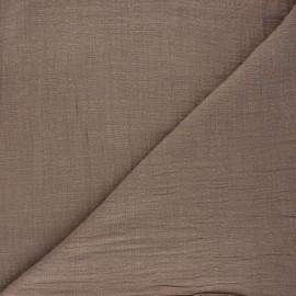 Tissu voile de coton flammé Victorine - taupe x 10cm