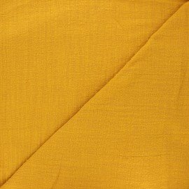 Tissu voile de coton flammé Victorine - jaune moutarde x 10cm