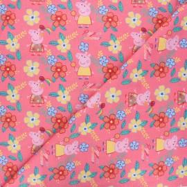 Cotton fabric - pink Peppa's summer x 10cm