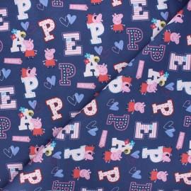 Cotton fabric - navy blue Peppa x 10cm