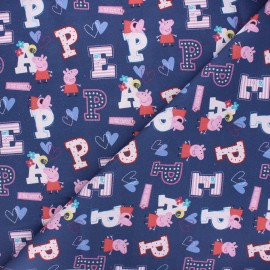 Tissu coton Peppa - bleu marine x 10cm