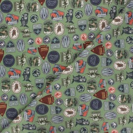 Tissu coton Jurassic badge - vert x 10cm