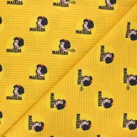 Tissu coton Mafalda - jaune x 10cm