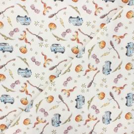 Tissu coton cretonne Flying car - écru x 10cm