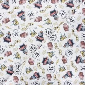 Cretonne cotton fabric - white Watercolor Hogwarts x 10 cm