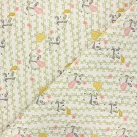 Cretonne cotton fabric - natural Wild live x 10 cm