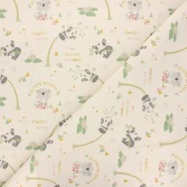 Cretonne cotton fabric - natural Protect nature x 10 cm