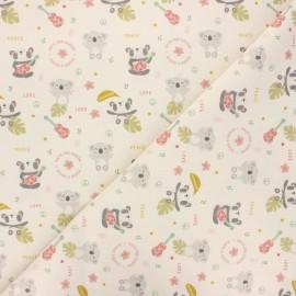 Cretonne cotton fabric - natural Peace & love x 10 cm