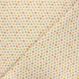 Cretonne cotton fabric - natural Green stars x 10 cm