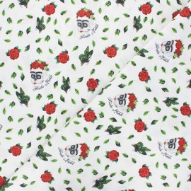Cretonne cotton fabric - white Skull Frida x 10 cm