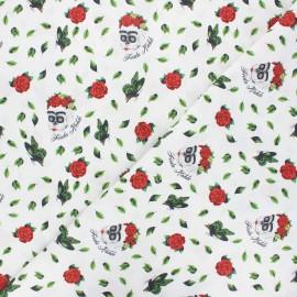 Tissu coton cretonne Skull Frida - blanc x 10cm