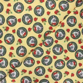 Cretonne cotton fabric - yellow Frida caps x 10 cm
