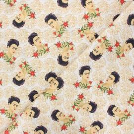 Cretonne cotton fabric - white Dear Frida x 10 cm