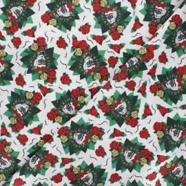 Cretonne cotton fabric - white Frida and roses x 10 cm