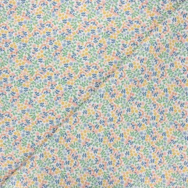 Tissu coton cretonne Flower field - blanc x 10cm