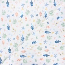 Cretonne cotton fabric - white Sea plants x 10 cm