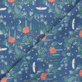 Tissu coton cretonne Camping night - bleu nuit x 10cm