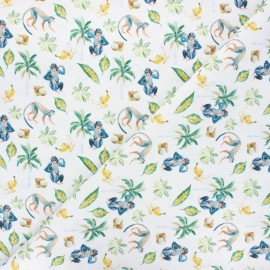 Tissu coton cretonne Monkey life - blanc x 10cm