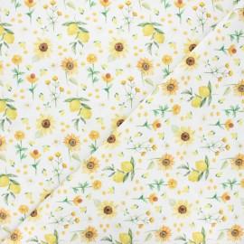 Cretonne cotton fabric - white Yellow life x 10 cm