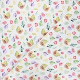 Cretonne cotton fabric - white Summer fruits x 10 cm