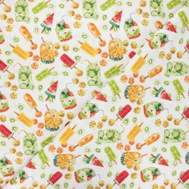 Cretonne cotton fabric - white Summer break x 10 cm